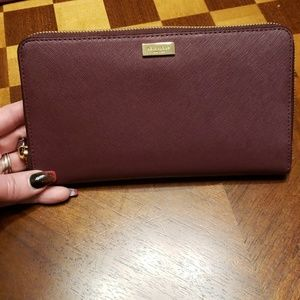 Kate Spade Kaden burgandy wallet leather